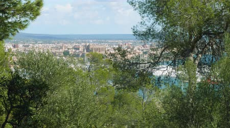 palma : View of Palma de Majorca from Bellver castle on sunny day suitable for travelling