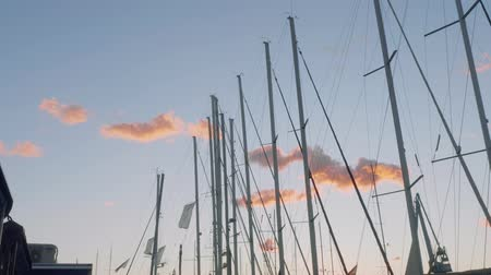 linha de costa : Picturesque view of little pink clouds and masts of yachts during sunset in mallorca