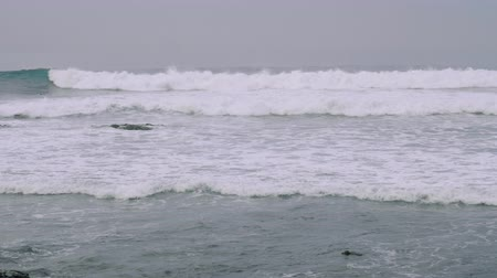 kanarya : People surfing on north coast not far from Agaete Stok Video