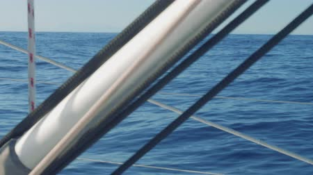 Бостон : VIew of sea through cordage from board of sailing yacht