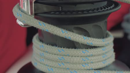 industrial fishing : Close up veiw of windlass rope on it Stock Footage
