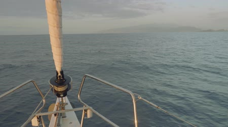 crew : View of Madeira island from board of sailing yacht.