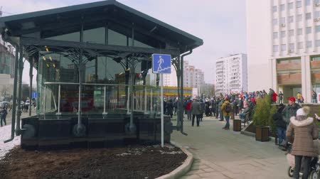 public transportation : Crowd of people waiting for opening new metro station