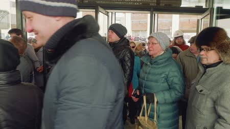 médio : MOSCOW - CIRCA APRIL, 2018: People entering door of new metro station