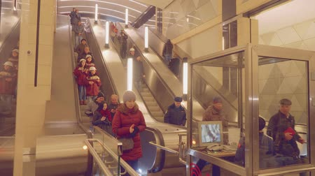speed tunnel : MOSCOW - CIRCA APRIL, 2018: View of people using escalator in new metro station
