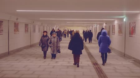 mean : People walking in tunnel of underground