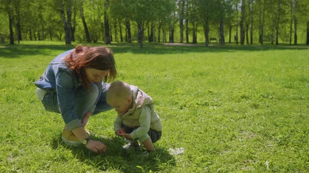 first born : Mom and her blond son plays on green grass and then hug each other