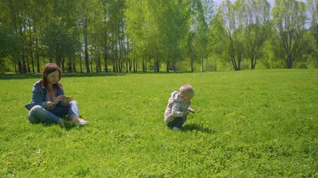 first born : Mom and little toddler are playing on green grass of park Stock Footage