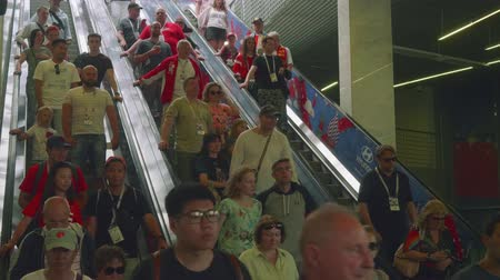fan fest : People use escalator to get to Luzhniki staduim in Moscow