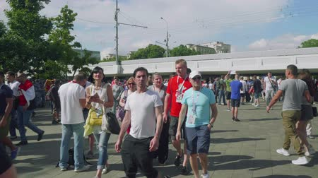 fan fest : Football fans of different countries go to Stadium to see match