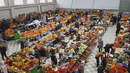 супермаркет : Rostov - on - Don, Russia - March 13, 2016: public market interior at fruit and vegetable stand.