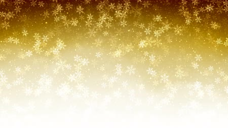 endless gold : Christmas gold seamless Abstract holiday background with flying snow and snowflakes. Looped motion graphic.