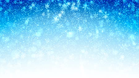 снежинки : Christmas blue seamless Abstract holiday background with flying snow and snowflakes. Looped motion graphic. Стоковые видеозаписи