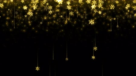 Christmas seamless Abstract holiday background with shining gold snowflakes. Looped motion graphic.