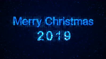 caligrafia : Merry christmas 2019 words from graphic elements on a information technology blue background. Holiday animated virtual digital background. 4K motion graphic.