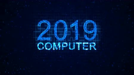 espaço de texto : Computer 2019 words from graphic elements on a information technology blue background. Holiday animated virtual digital background. 4K motion graphic.