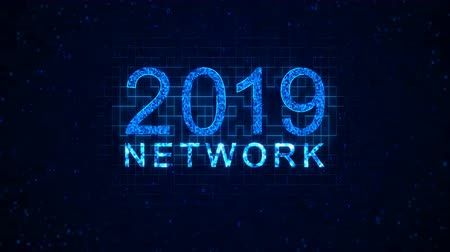 özellikleri : Network 2019 words from graphic elements on a information technology blue background. Holiday animated virtual digital background. 4K motion graphic.