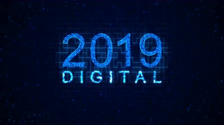 regra : Digital 2019 words from graphic elements on a information technology blue background. Holiday animated virtual digital background. 4K motion graphic.