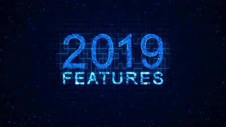 regra : Features 2019 words from graphic elements on a information technology blue background. Holiday animated virtual digital background. 4K motion graphic.