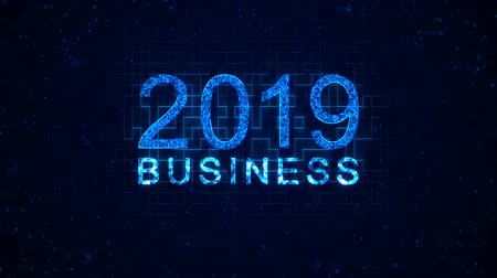 regra : Business 2019 words from graphic elements on a information technology blue background. Holiday animated virtual digital background. 4K motion graphic. Vídeos