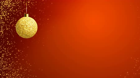 endless gold : Hanging elegant Christmas gold evening ball on the holiday red background. Looped 4K motion graphic. Stock Footage