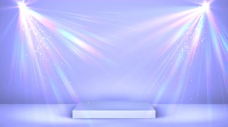 пьедестал : Light lilac stage podium with holographic spot lighting and shining, empty scene for award Ceremony or advertising on the light background. Looped motion graphic.