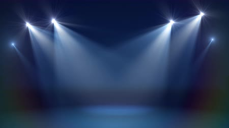 Stage with spot lighting, shining empty scene for holiday show, award Ceremony or advertising on the dark blue Background. Looped motion graphic. Stock mozgókép