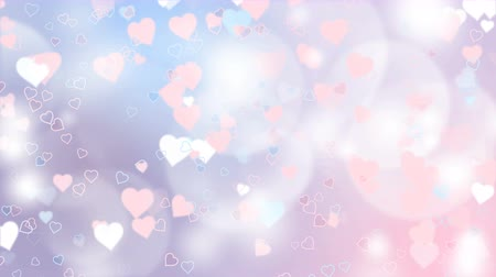 боке : Pink an white hearts appear on the shining soft background. Valentines Day holiday abstract loop animation. Стоковые видеозаписи