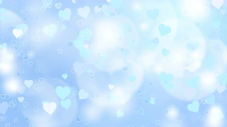 боке : Glowing hearts appear on the shining blue background. Valentines Day holiday abstract loop animation.