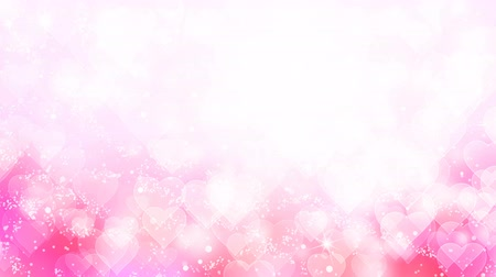 Pink hearts appear on the shining soft background. Valentines Day holiday abstract loop animation.