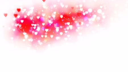walentynki : Pink hearts appear on the shining soft background. Valentines Day holiday abstract loop animation.