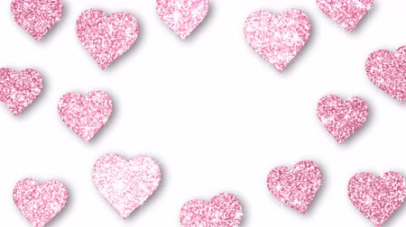 endless gold : Pink shining hearts sparkle on the white background with place for text. Valentines Day holiday abstract loop animation.