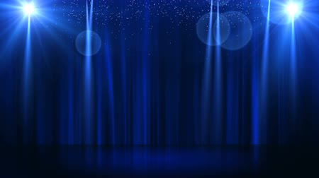 пьедестал : Stage with spot lighting, shining empty scene for holiday show, award Ceremony or advertising on the dark blue Background. Looped motion graphic. Стоковые видеозаписи