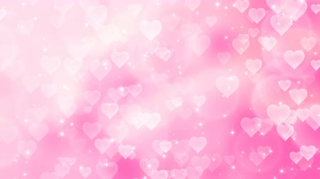 happy holidays : Pink an white hearts appear on the shining soft background. Valentines Day holiday abstract loop animation. Stock Footage