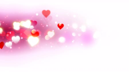ピンク : Pink an white hearts appear on the shining soft background. Valentines Day holiday abstract loop animation. 動画素材