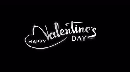 Animated glow holiday shining white inscription Valentines Day on the black background. Looped 4K motion graphic.