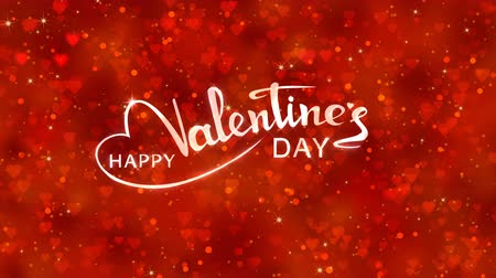 Red hearts appear on the shining soft background with glow animated text. Valentines Day holiday abstract loop animation.