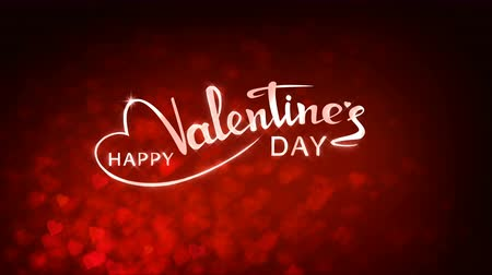 Red circles appear on the shining soft background with glow animated text. Valentines Day holiday abstract loop animation. Stok Video