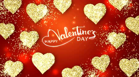 Gold shining hearts sparkle on the red background with glow animated text. Valentines Day holiday abstract loop animation. Stock mozgókép