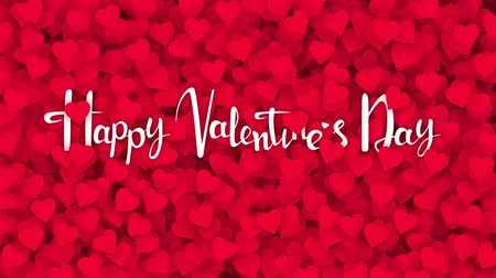 escrita : Red hearts appearing on the holiday background with white text. Looped 4K motion graphic for design Valentines Day.