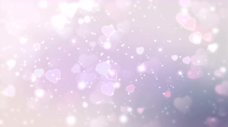 боке : Pink and white hearts appear on the shining soft background. Valentines Day holiday abstract loop animation. Стоковые видеозаписи