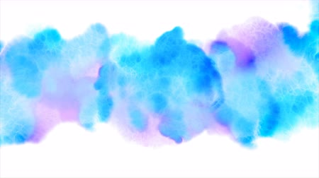 desenhada à mão : Beautiful blue spot appears on a white background. Light cyan and pink paints spreads on paper forming a blot.