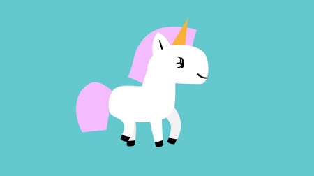 estilizado : Cute cartoon white unicorn with pink mane goes on blue background. Looped 4K motion graphic. Stock Footage