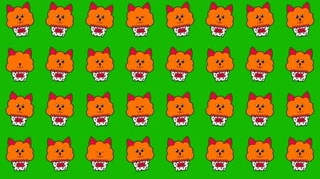 pot stickers : Cute cupcakes with happy red cats in a pot for funny background. Looped 4K motion graphic.