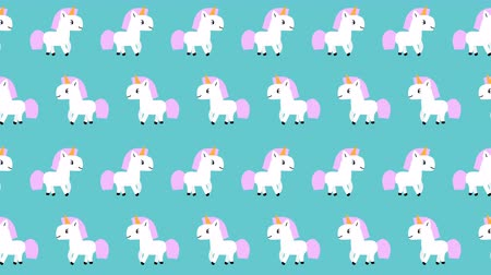 estilizado : Pattern with cute cartoon white unicorns with pink mane goes on blue background. Looped 4K motion graphic. Stock Footage