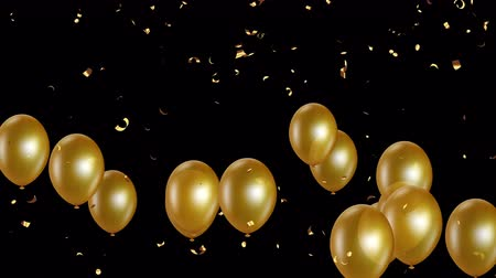 léggömb : Holiday seamless gold flying balloons and shining confettis with Alpha channel. Looped 4K motion graphic.