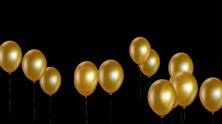 endless gold : Holiday seamless gold flying balloons with Alpha channel. Looped 4K motion graphic.