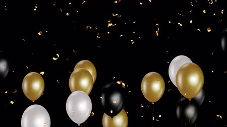 jubileum : Holiday seamless background with golden white and black flying balloons and shining confettis with Alpha channel. Looped 4K motion graphic.