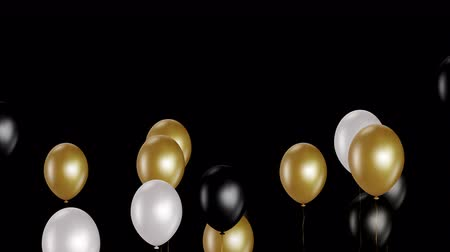 camsı : Holiday seamless background with golden white and black flying balloons with Alpha channel. Looped 4K motion graphic. Stok Video
