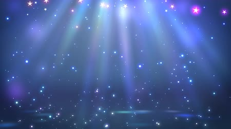 пьедестал : Stage with spot lighting, shining empty scene for holiday show, award Ceremony or advertising on the dark blue Background. Looped 4K motion graphic. Стоковые видеозаписи